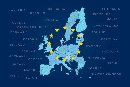an image of the european union map with member-states' names