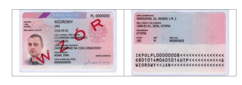Polish residence permit card