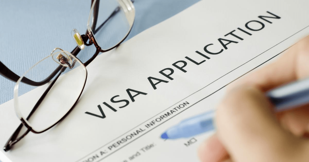 a picture of filling a visa application