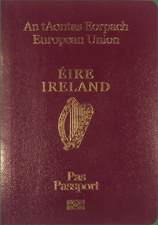 The image of the passport of Ireland