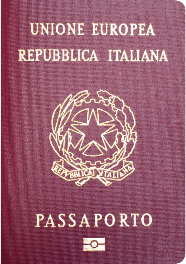 The image of the passport of Italy
