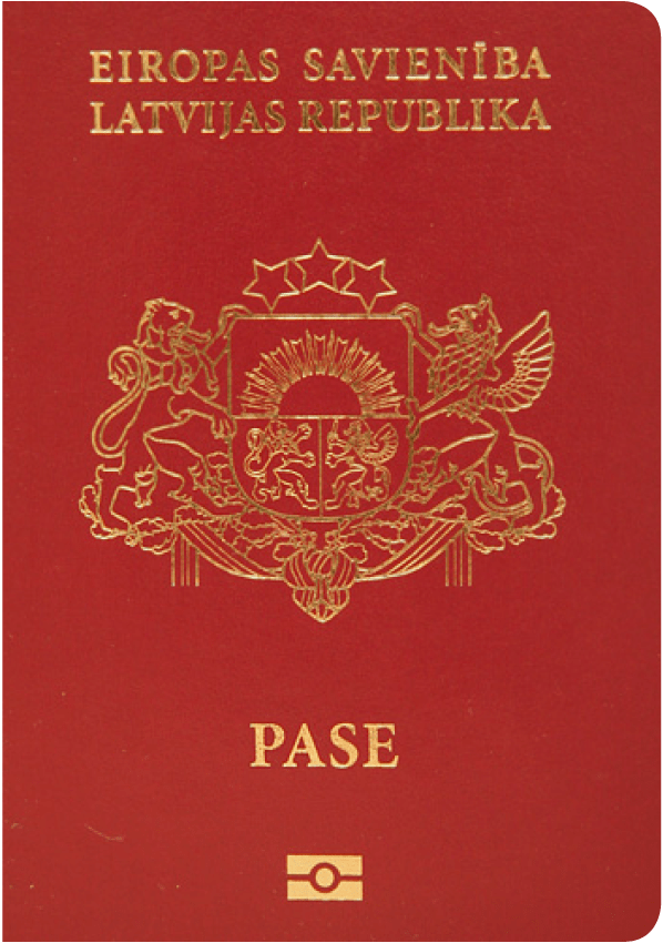 The image of the passport of Latvia