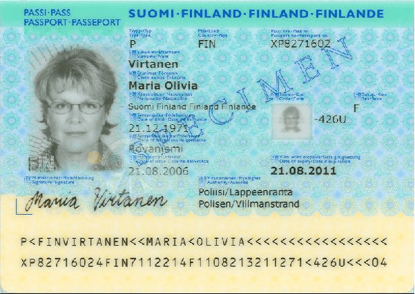 The image of the inside of the passport of Finland