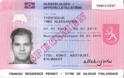 The image of the front side of the residence permit of Finland