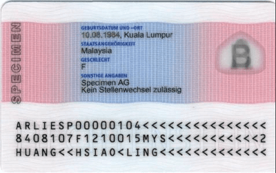 The image of the back side of the residence permit of Liechtenstein