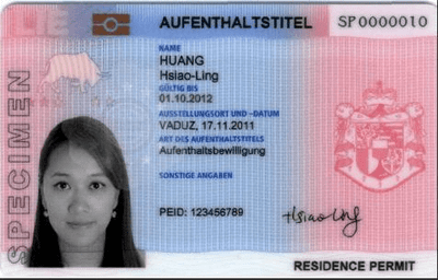 The image of the front side of the residence permit of Liechtenstein