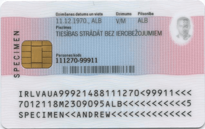 The image of the back side of the residence permit of Latvia