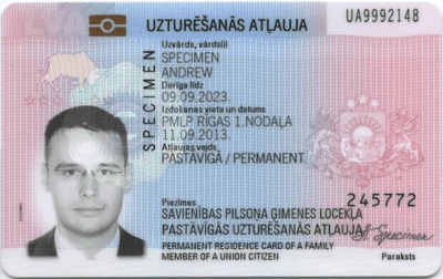 The image of the front side of the residence permit of Latvia