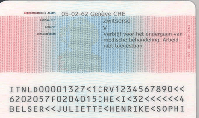 The image of the back side of the residence permit of Netherlands