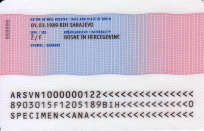 The image of the back side of the residence permit of Slovenia