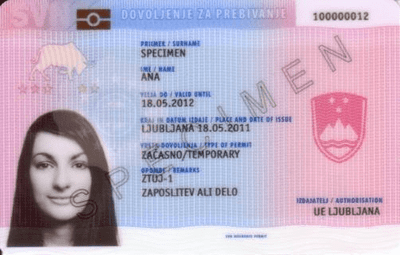 The image of the front side of the residence permit of Slovenia